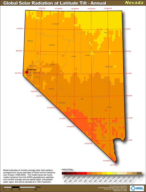 Nevada Solar Power Info - Map of nv